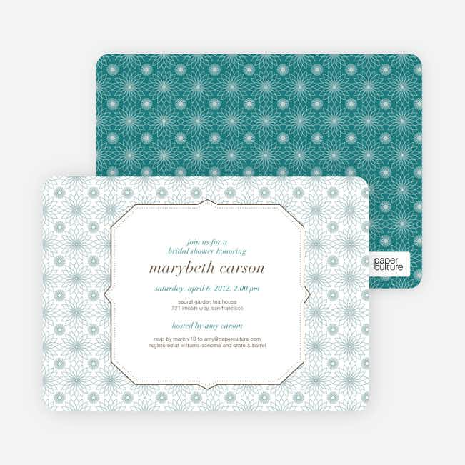 Spirograph Flower Bridal Shower Invitations - Blue