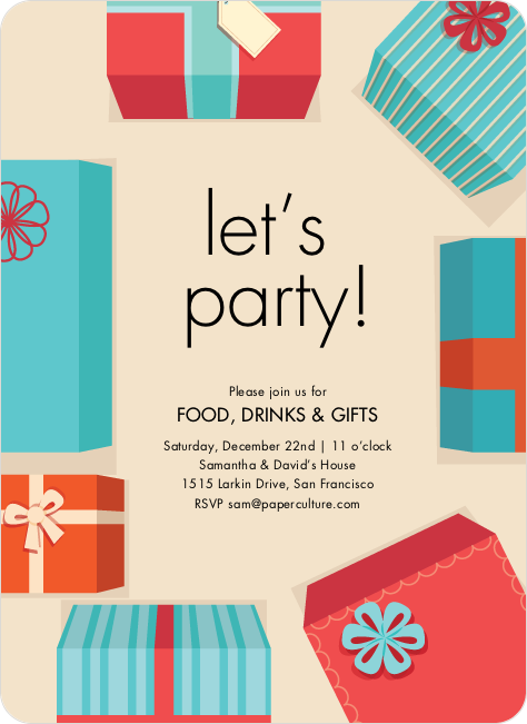 Christmas gift exchange wording on invitation for no gifts