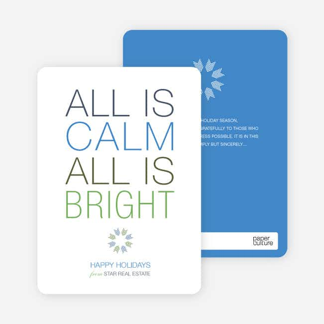 All is Calm Holiday Cards - Royal Blue