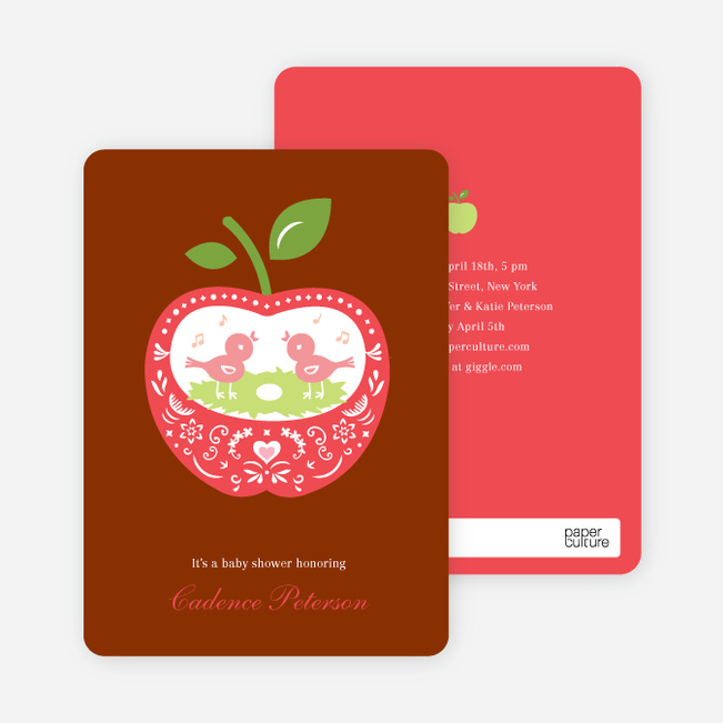 Appleseed Bird Baby Shower Invitation Paper Culture