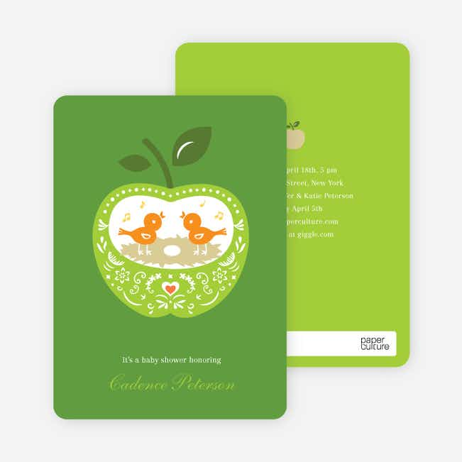 Appleseed Bird Baby Shower Invitation - Apple Green