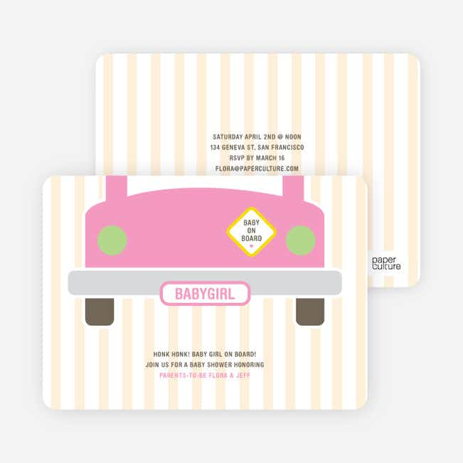 Baby on Board Baby Shower Invitations - Precious Pink