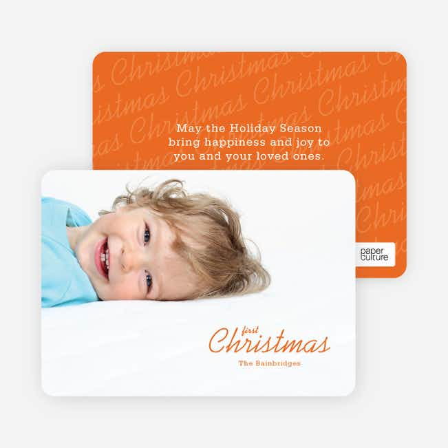First Christmas Holiday Photo Cards - Orange