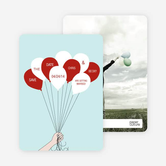 Fun Balloon Themed Save the Date Cards - Red