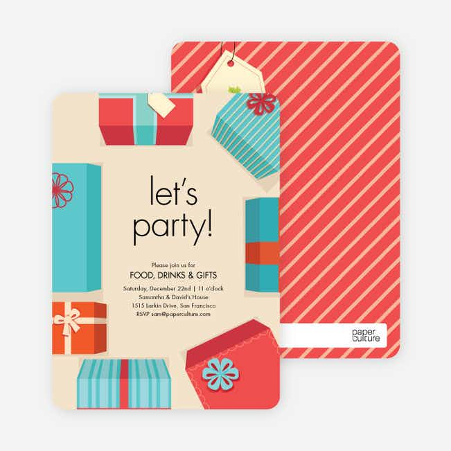 Gift Exchange Holiday Invitations - Blue
