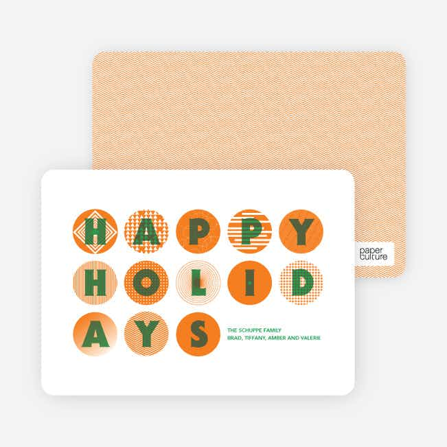 Happy Holidays Christmas Ornament Cards - Tangerine
