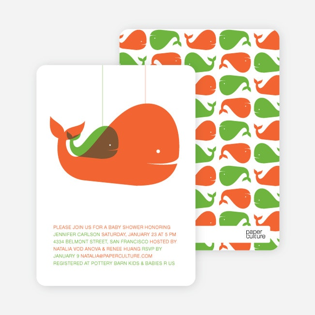 Momma And Baby Whale Baby Shower Invitation   Orange