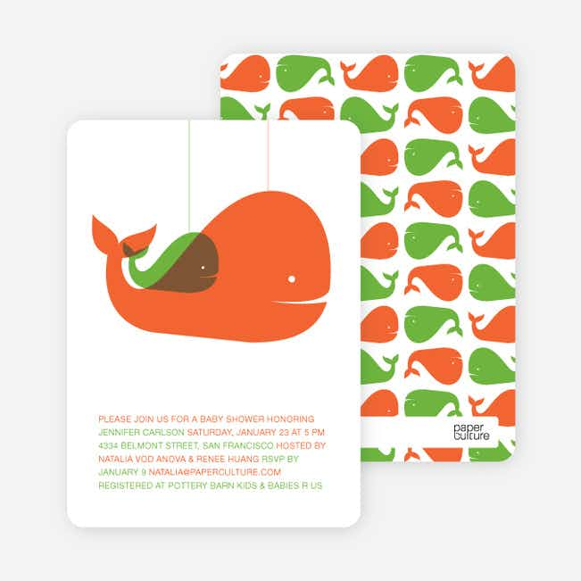 Momma and Baby Whale Baby Shower Invitation - Orange