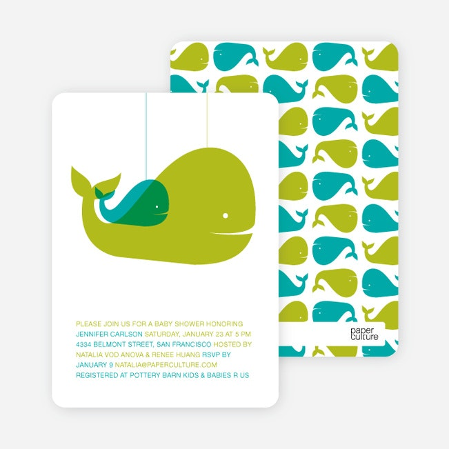 Momma And Baby Whale Baby Shower Invitation   Olive Green
