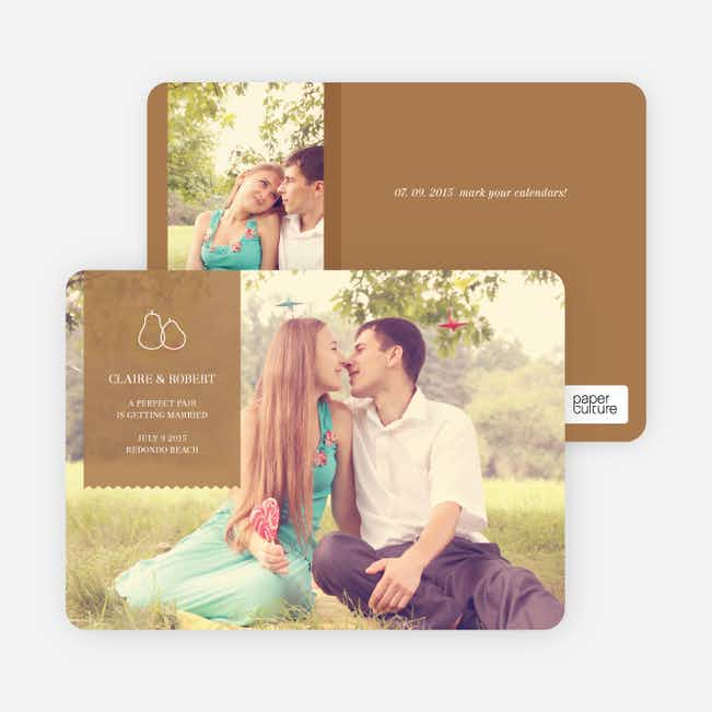Pear Themed Save the Date Photo Cards - Capuccino
