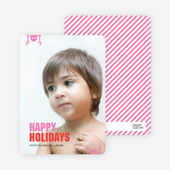 Robot Holiday Greeting Cards - Hot Pink
