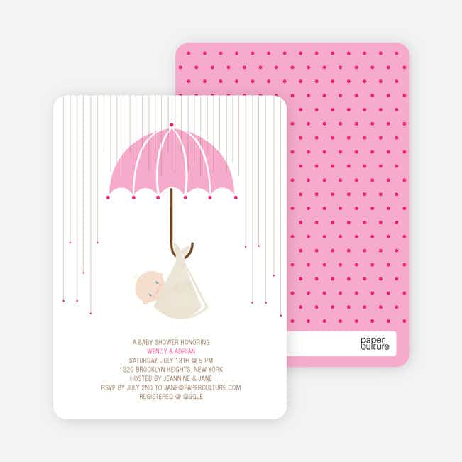 Shower Us With Your Love Baby Shower Invitations - Pink Shower