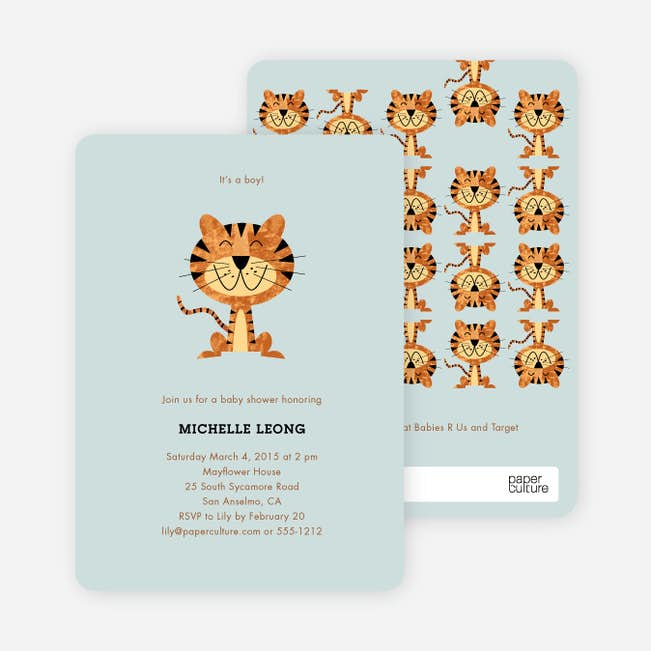 Tiger baby shower invitations paper culture year of the tiger shower main filmwisefo