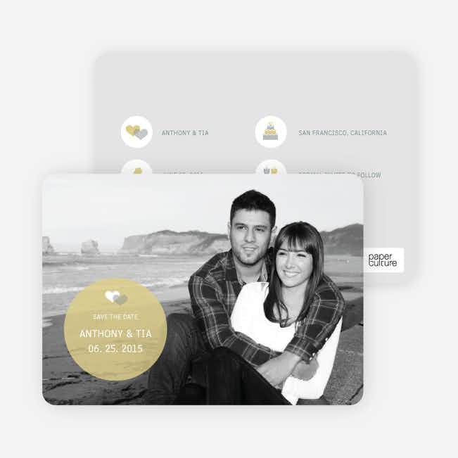 Wedding Icon Save the Date Cards - Mustard