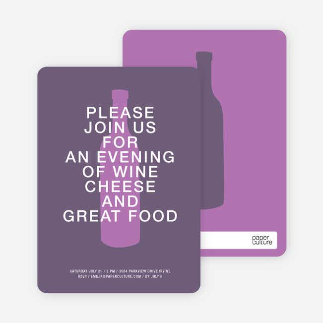 Wine and Cheese Party Invitations - Purple Shade