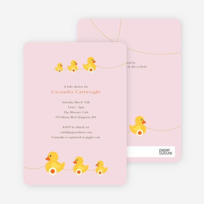 Ducks in a Row Baby Shower Invitations - Classical Pink
