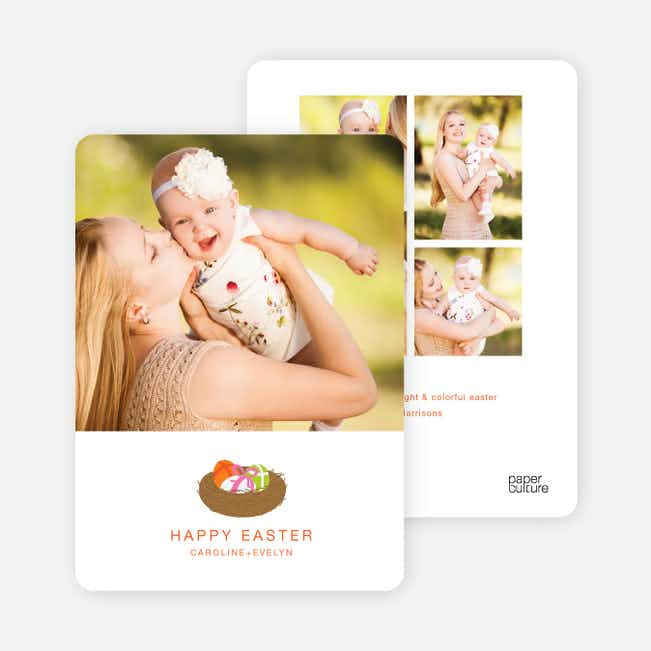 Easter Egg Nest Photo Cards - Orange Crayon