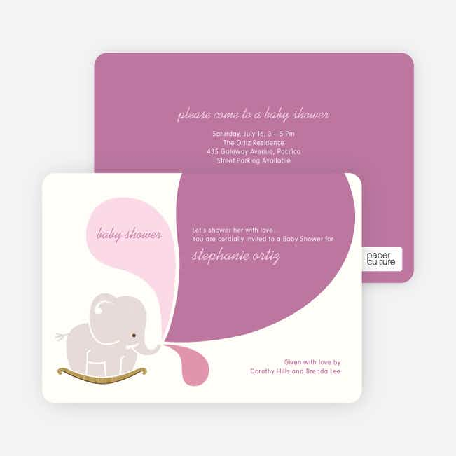 Elephant Rocker Baby Shower Invitations - Raspberry