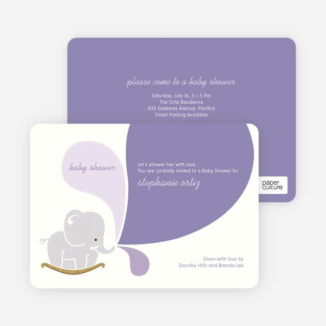 Elephant Rocker Baby Shower Invitations - Grape Cream