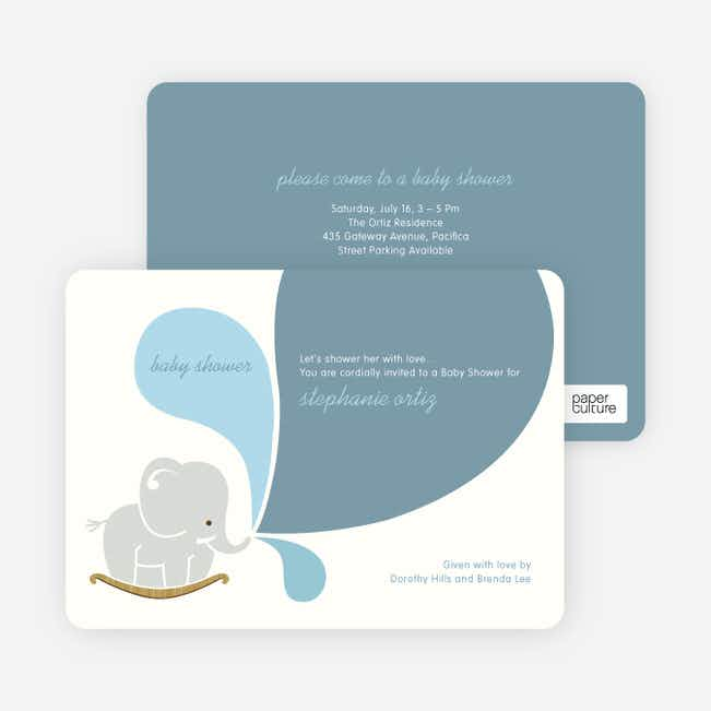 Elephant Rocker Baby Shower Invitations - Elephant Spout