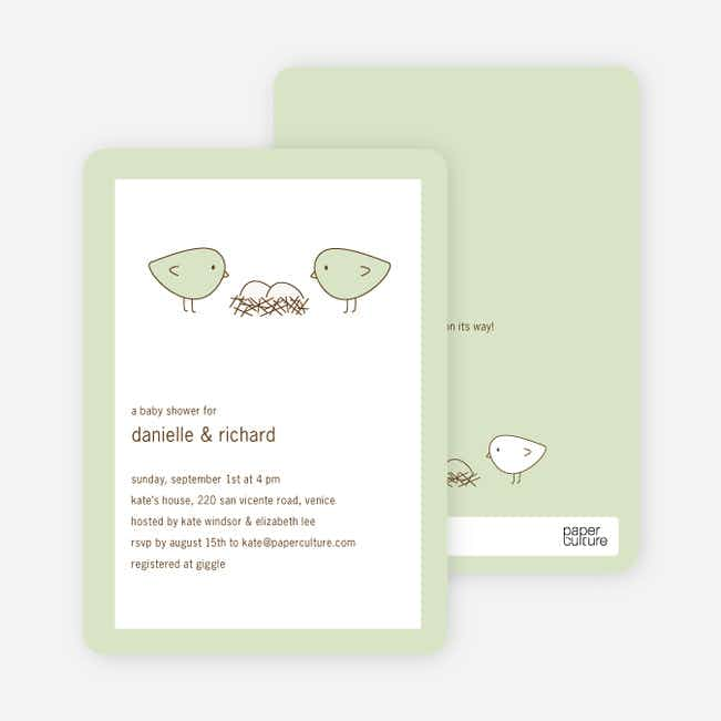 Nesting Birds Twins Baby Shower Invite - Light Green