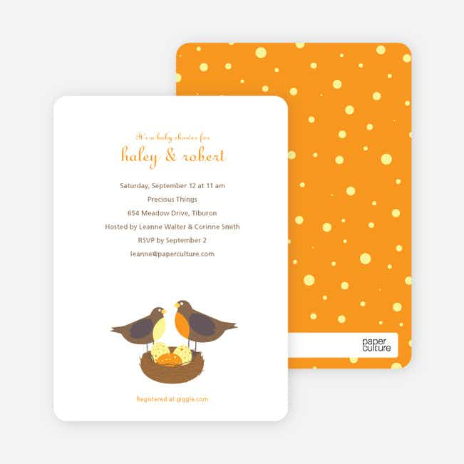 Nesting Robins Baby Shower Invites - Papaya