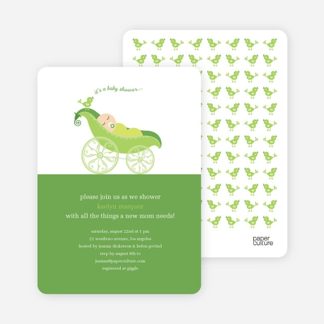 pea in pod baby shower invitation  paper culture, Baby shower invitations
