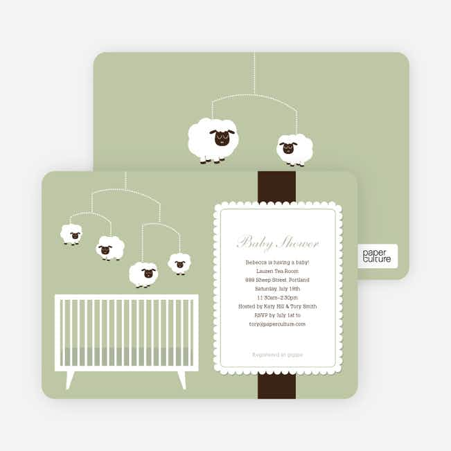 Sheep Mobile Baby Shower Invitations - Green Baby