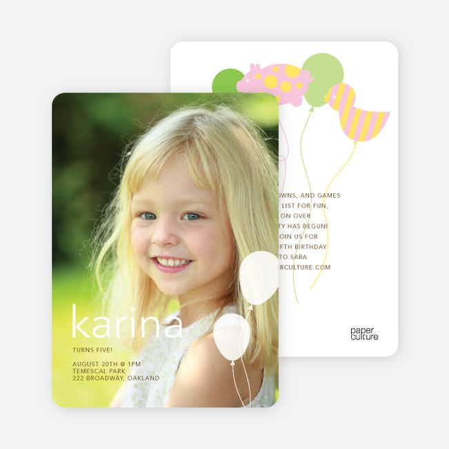 Balloon Zoo Modern Birthday Invitations - Paper Culture Green