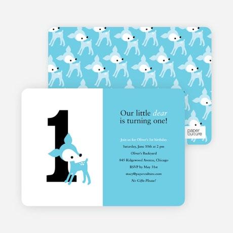Blue Deer 1st Birthday Invitation – Blue Birthday Invitations