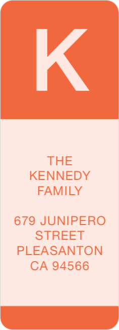 Bold Monogram Custom Address Labels - Orange