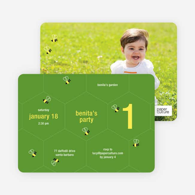Buzzing Bee Modern Birthday Invitations - Rich Green