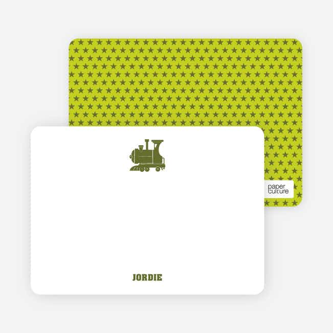 Classic Train Personal Note Cards - Green
