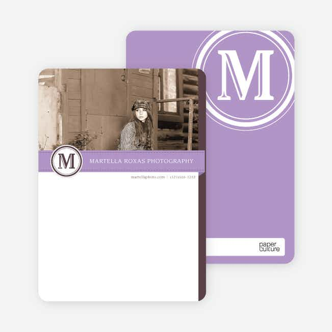 Monogram Photo Stationery - Purple