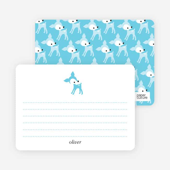 Personal Stationery for Blue Deer 1st Birthday Invitation - Turquoise