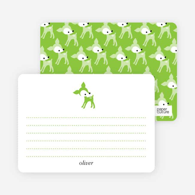 Personal Stationery for Blue Deer 1st Birthday Invitation - Apple Green