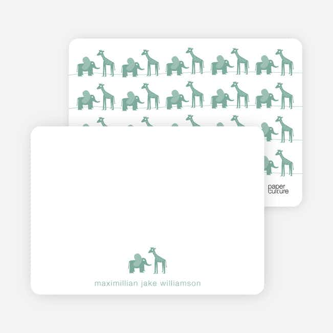 Personal Stationery for Jungle Fun Baby Announcement - Celadon