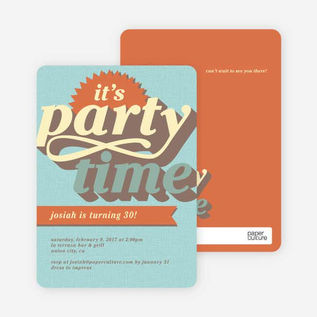 Retro Party Invitations - Blue