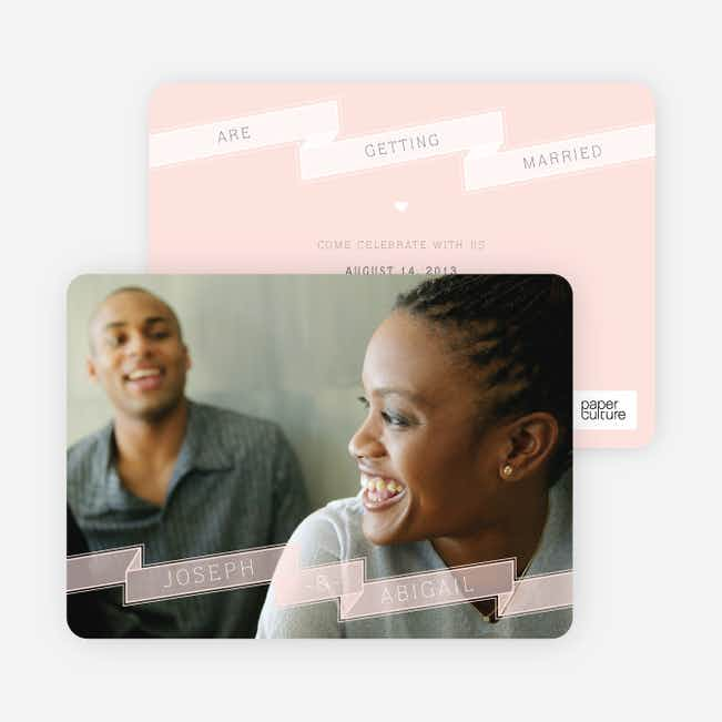 Ribbon Save the Date Cards - Pink