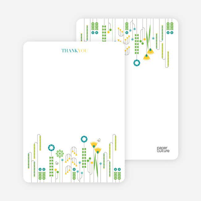 Stationery: 'Spring Beauty Flower Shower' cards. - Teal