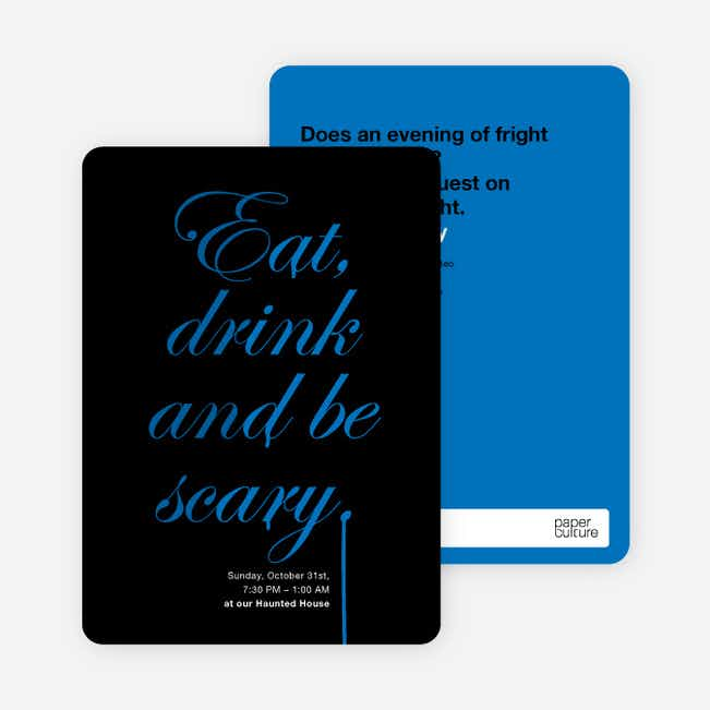 Adult Scary Script Halloween Party Invitations - Sea Blue