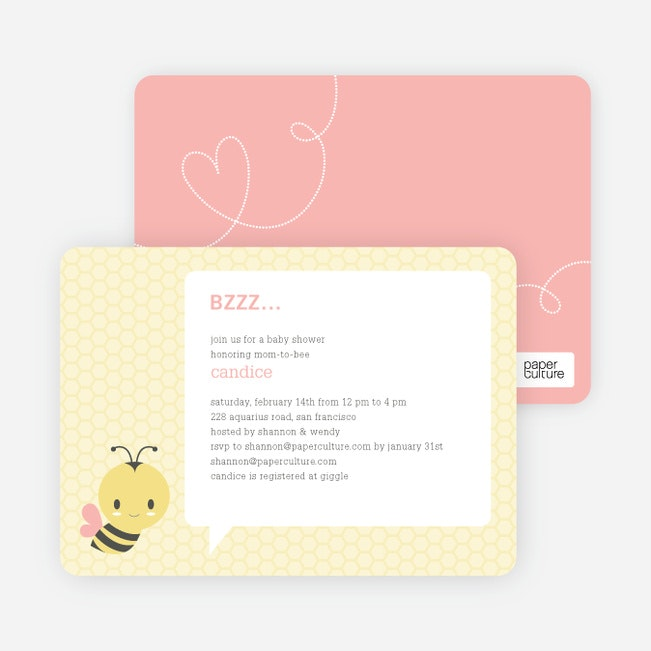 bumble bee themed baby shower invitations  paper culture, Baby shower invitations