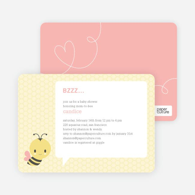 Bumble Bee Themed Baby Shower Invitations Paper Culture