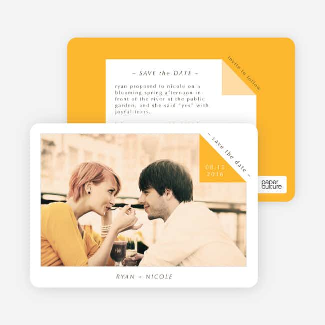 Dog Ear Corners Save the Date Cards - Orange