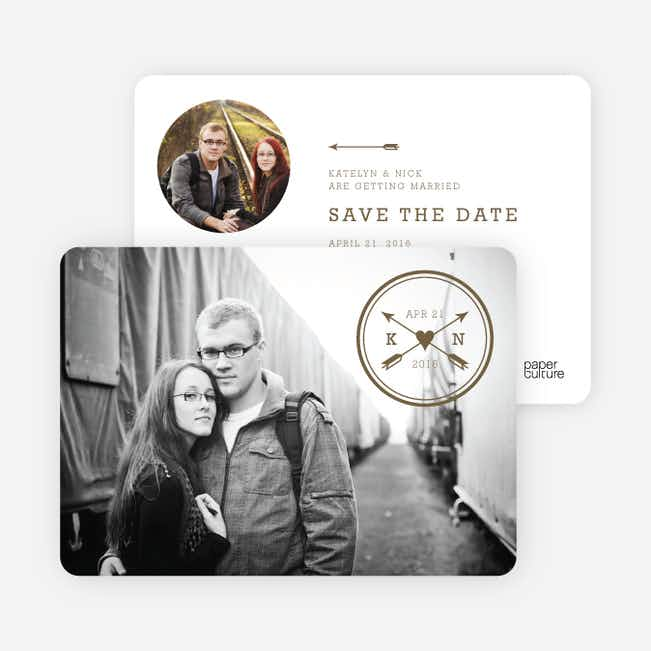 Shot Through the Heart Save the Date Cards - Brown