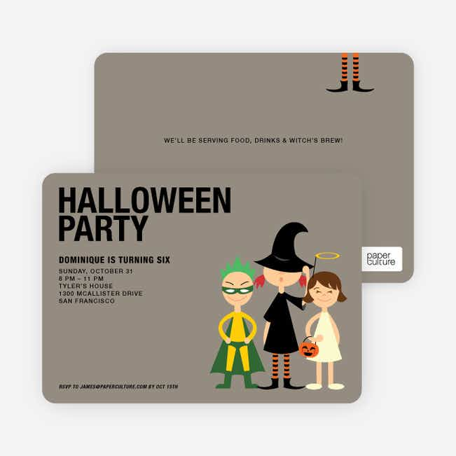 Super Hero, Witch & Angel Halloween Party Invitations - Forest Green