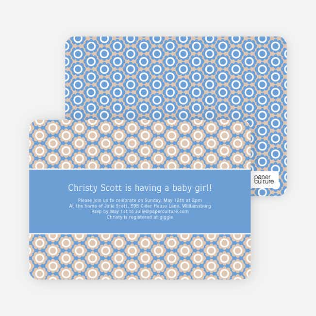 Flower Shower Baby Shower Invitations - Blue