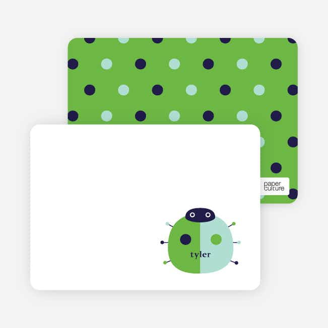 Personal Stationery for Modern Ladybug Baby Announcement - Apple Green