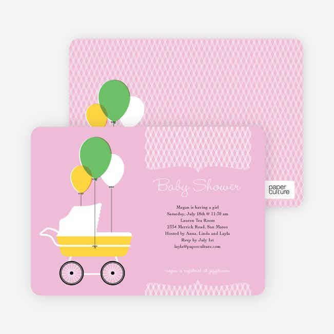 Vintage Stroller Baby Shower Invitations - Pink Velvet