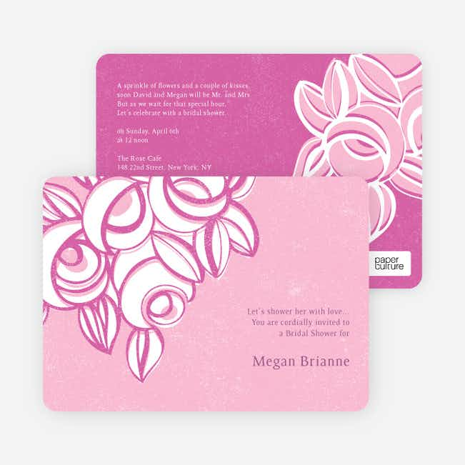 Vintage Flower Bouquet Bridal Shower Invitations - Pink